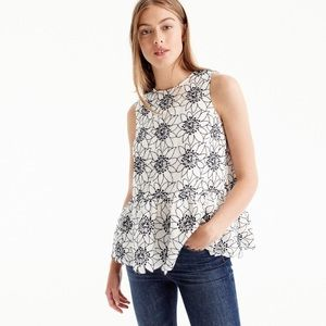 J. Crew embroidered floral black white top 8